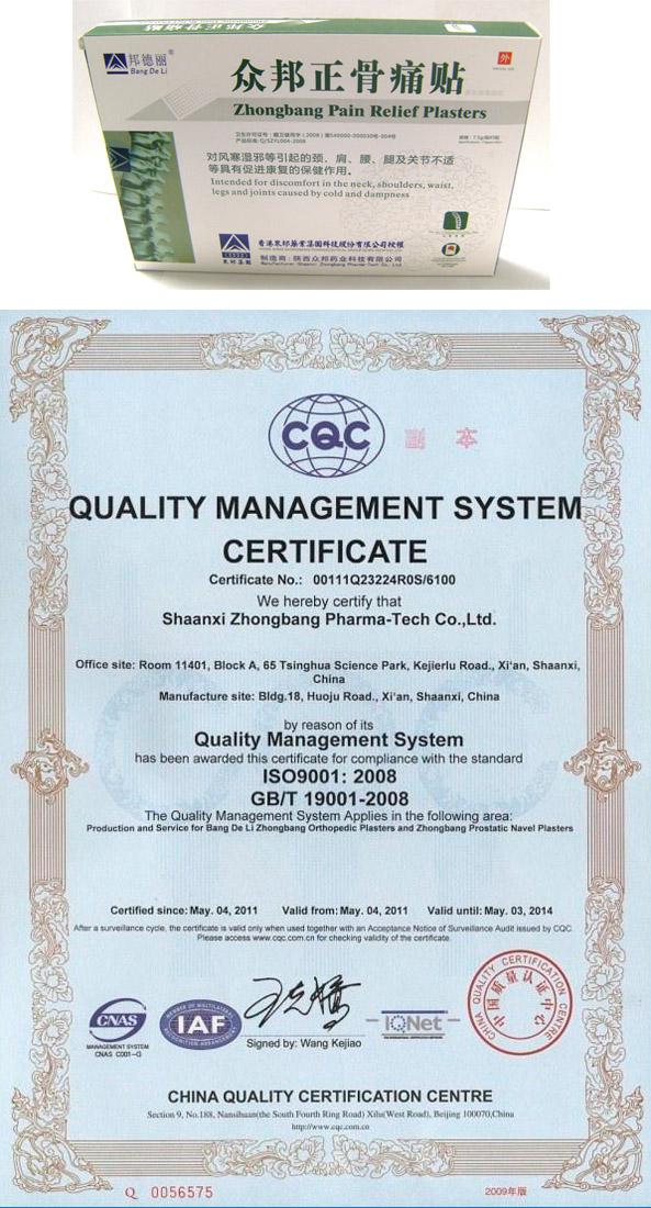 Пример оригинальной упаковки и сертификат качества пластыря