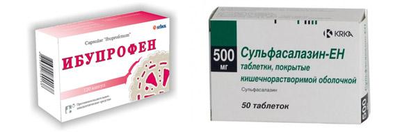 Ибупрофен и Сульфасалазин